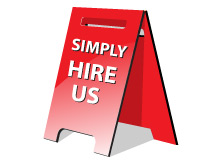 Simply Hire Us sign