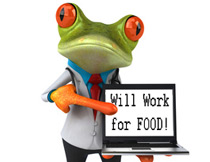 Green frog holding will work for food sign