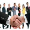 Marketing partners shaking hands